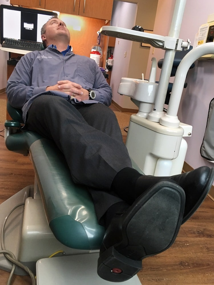 Dr. Drews relaxing in the dental chair